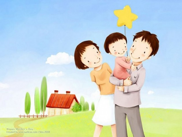 Lovely_illustration_of_Happy_family_in_field_2_wallcoo.com