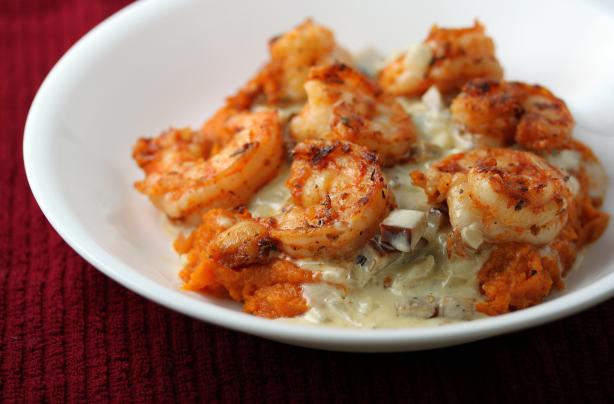 cajun-shrimp-in-andouille-cream-sauce-over-mashed-sweet-potatoes-3