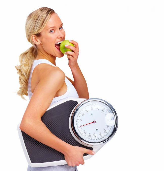 Woman-Eating-Apple-with-Scale