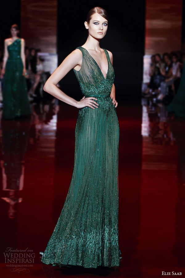 elie-saab-fall-winter-2013-2014-couture-green-sleeveless-dress-v-neck