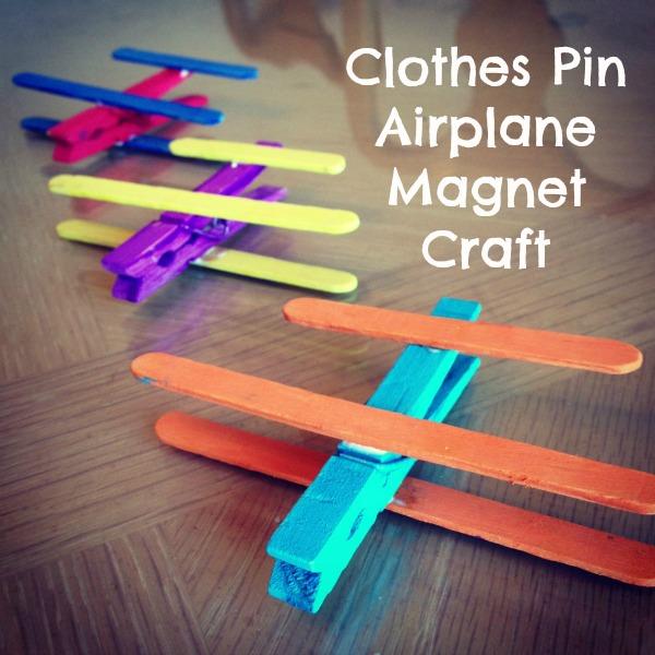 ClothesPinAirplaneMagnetCraft1