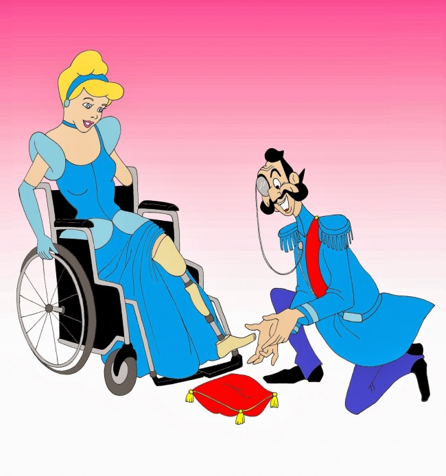 Disabled Disney Princess Cinderella prosthesis shoes Disabled Disability Equal Rights Wellchair Health Art Campaign ADV Cartoon Painting Portrait Illustration Sketch Humor Chic by aleXsandro Palombo