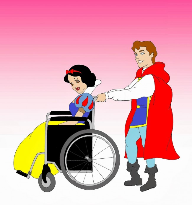 Disabled Disney princess Snow White and Prince Charming Disabled Disability Equal Rights Wellchair Health Art Campaign ADV Cartoon Painting Portrait Human Illustration Sketch Humor Chic by aleXsandro Palombo