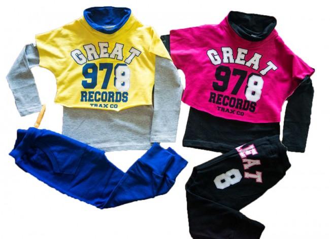 17dc4b35411 Πολύ παιχνιδιάρικη είναι αυτή η φόρμα για κορίτσια, σε ποιότητα φούτερ  lycra, μπλούζα με κουκούλα και τύπωμα διακοσμημένο με φιόγκο και παντελόνι  με τσέπη ...
