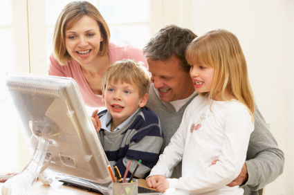 Family Group Using Computer