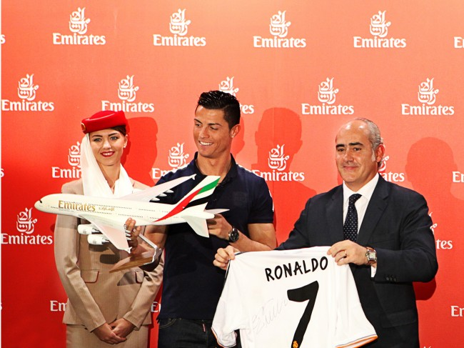 Emirates Global Ambassador Cristiano Ronaldo and Emirates Country Manager Fernando Suarez de Gongora