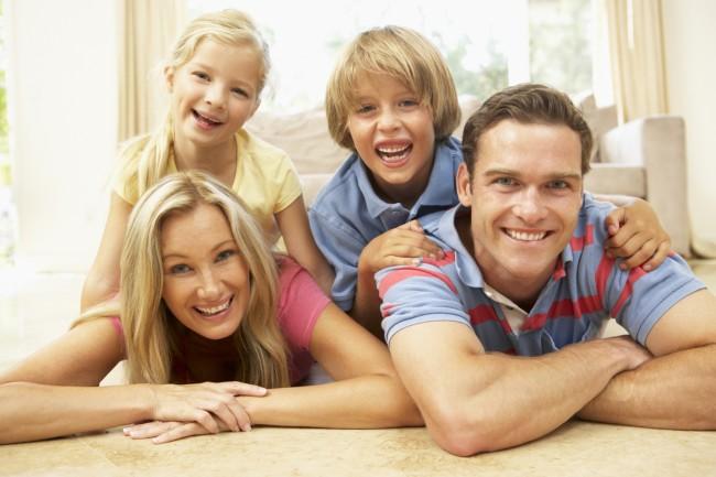 family-on-stomachs-smile