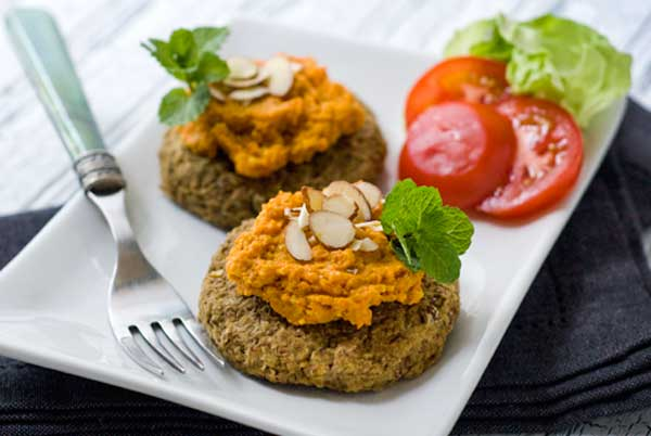 gulten-free-lentil-cakes-with-carrot-romesco-sauce