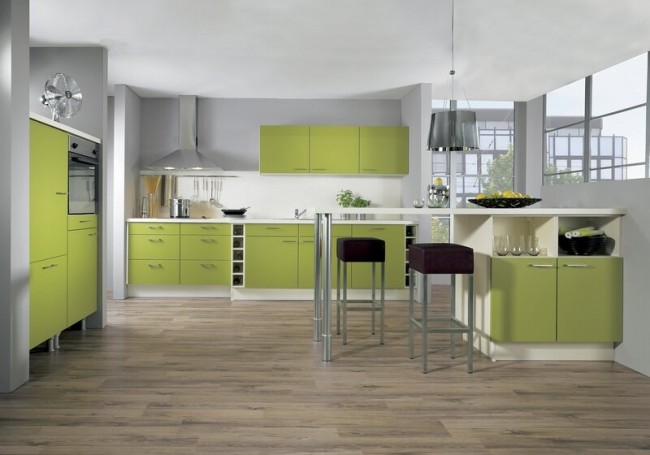 kitchen-cabinets-modern-two-tone-161-A050a-green-white-peninsula-bar-seating-wine-storage