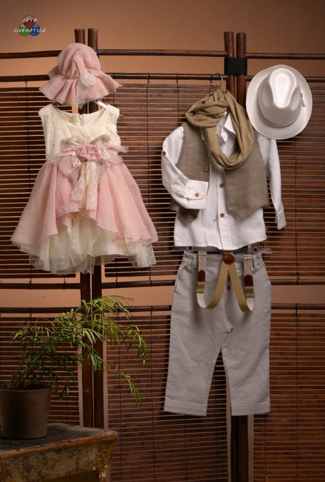 a7141331687d Φόρεμα Collection 2014 by TSELIOS. Λινό ροζ με βαμβακερή δαντέλα. Στο σετ  περιλαμβάνεται το μπολερό και το καπέλο. Τιμή  120