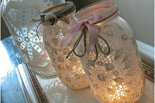 DIY-wedding-lace-jar-lantern-light-candle