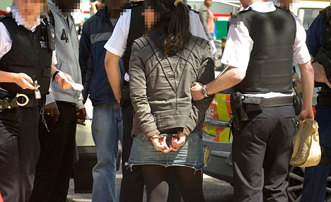 Four teenage girls are detained outside Kennington Post Office by armed Police who recover what appears to be a hand gun.
