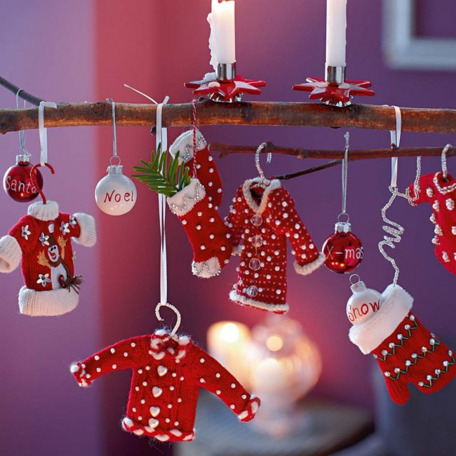 Charming-kids-make-christmas-ornaments-with-small-items-decor-and-nice-candle-holders-and-they-hanging-on-the-twig