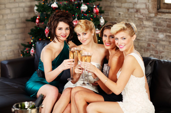 beautiful-women-having-cocktails-at-christmas-party