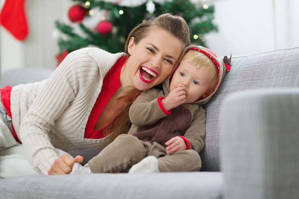 mom-with-baby-christmas-baby-eating