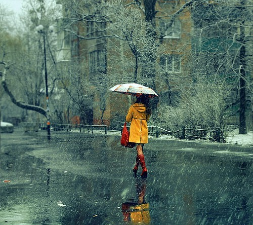 yellow rain coat rainy day los angeles polka dot revolt