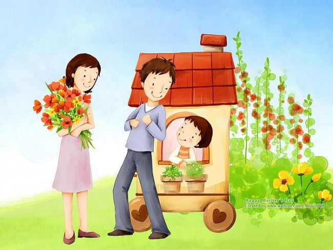 Lovely_illustration_of_Happy_family_with_flowers_wallcoo.com