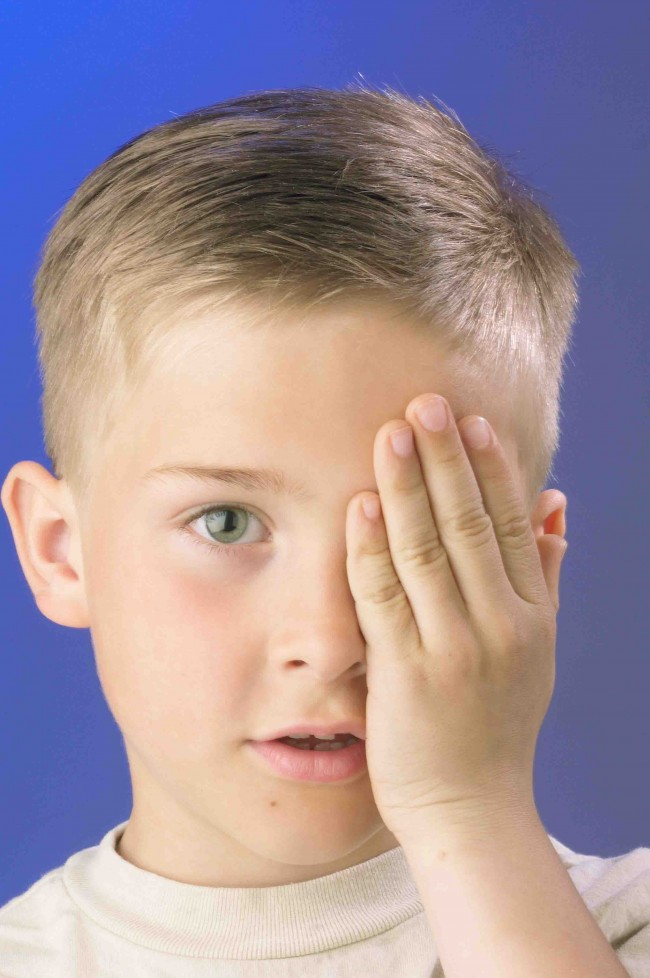 boy eye exam