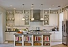 amusing-kitchen-layout-wooden-rack-ideas-with-table-with-storage-and-three-chandelier-along-with-tiles-flooring