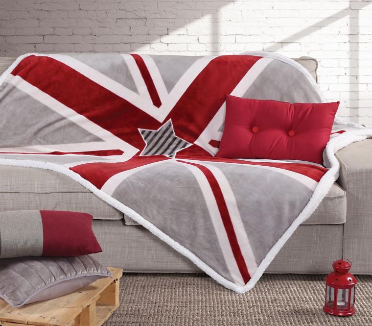 """Κουβέρτα καναπέ με γουνάκι """"Flag"""" €33"""