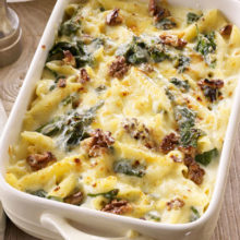 cheese-spinach-and-walnut-pasta-bake