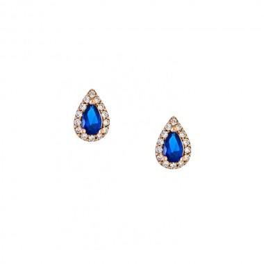 Σκουλαρίκια βιδωτά από ροζ χρυσό 14 καρατίων με μπλε και λευκά ζιρκόν