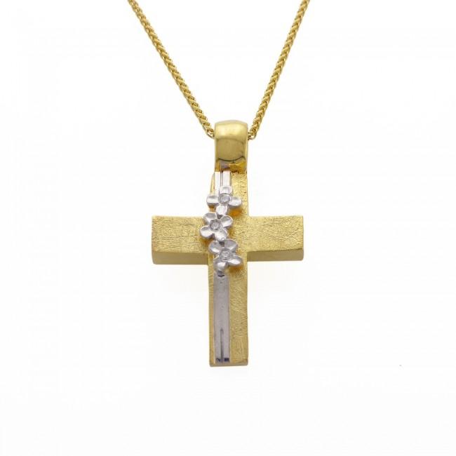 Σταυρός για κορίτσι από χρυσό 14 καρατίων με λουλούδια από λευκό χρυσό και ζιρκόν