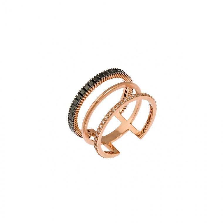 Δαχτυλίδι τριπλό από ροζ χρυσό 14 καρατίων με μαύρα τετράγωνα ζιρκόν στη μία σειρά και λευκά στην άλλη