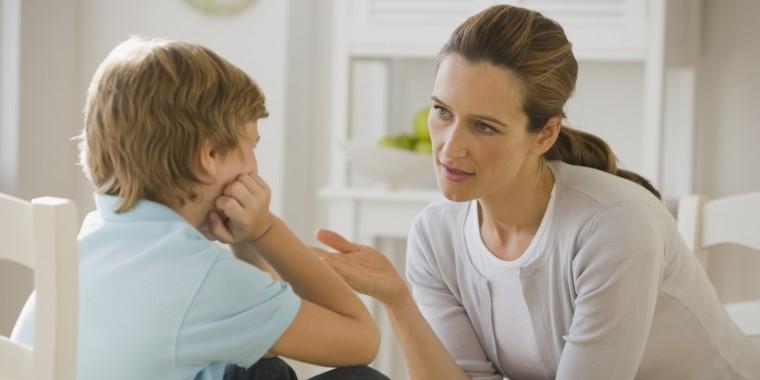 mom and kid talking