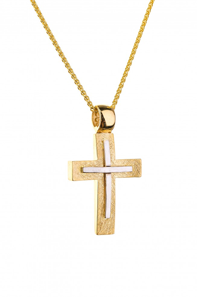 Σταυρός ανδρικός από λευκό και κίτρινο χρυσό 14 καρατίων