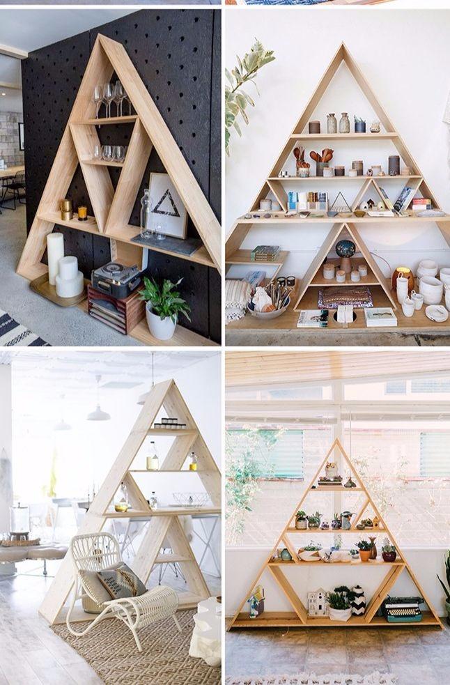 μοντέρνα τρίγωνη βιβλιοθήκη