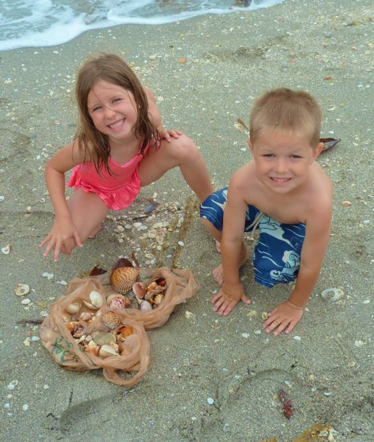 Kids with seashells