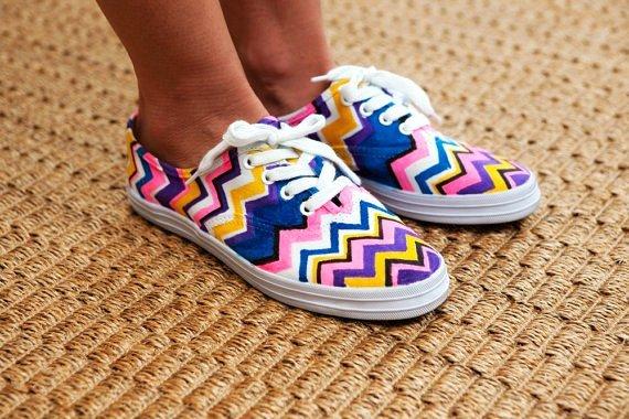 handmade diy missoni sneakers flats men women one for one-f82318