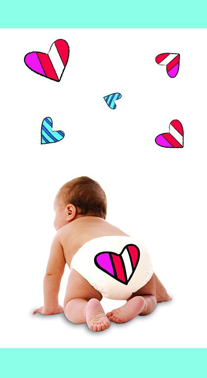 μωράκι με υφασμάτινη πάνα