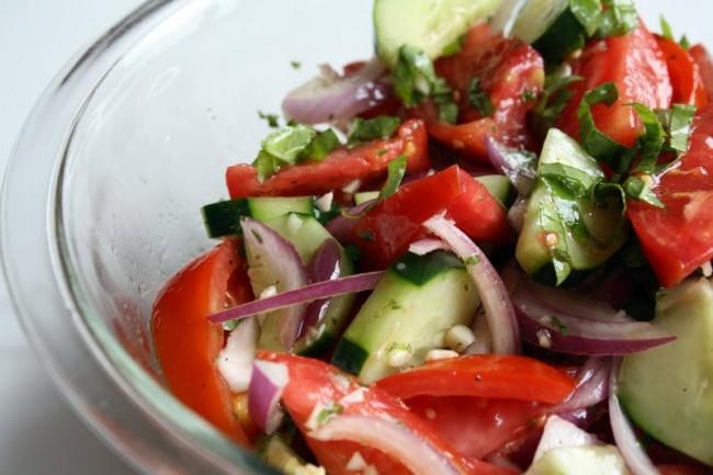 dinosaur bbq tomato cucumber salad