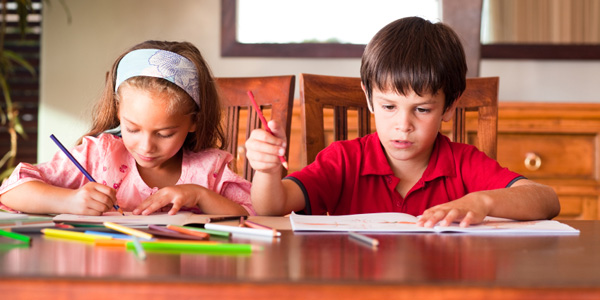 Children doing homework