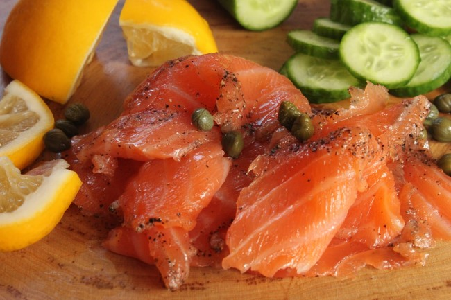 Gravlax cured salmon macro