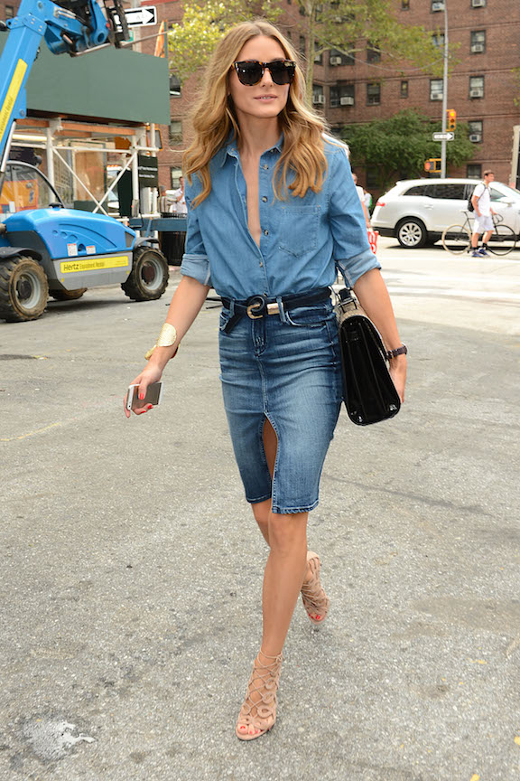Olivia Palermo wears double denim at New York Fashion Week