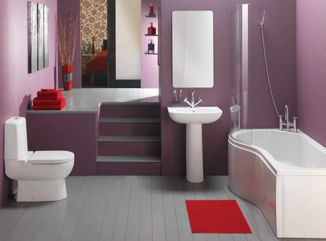 Bathroom-Decorating-Ideas-on-a-Budget-With-Purple-Wall