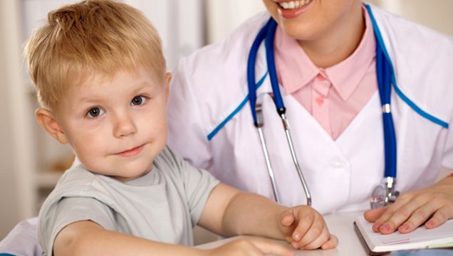 child male with doctor