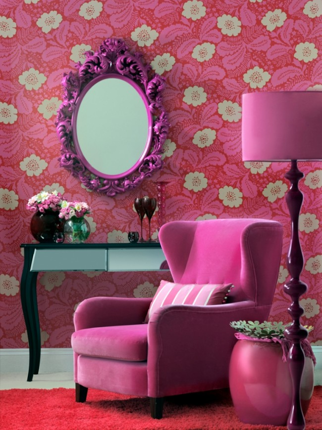 Hot-Pink-Living-Room