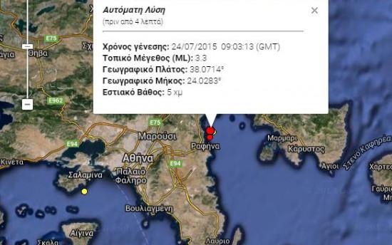 Σεισμός αισθητός στην Αττική πριν από λίγο – 3,3 Ρίχτερ στη Ραφήνα