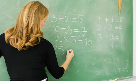 Elementary teacher writing arithmetic on blackboard, rear view