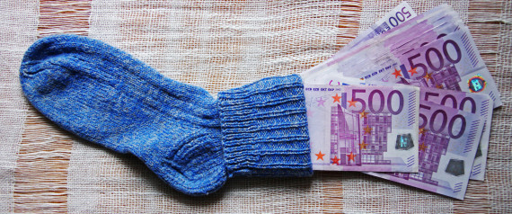 MUNICH, GERMANY - MAY 09:  A Sock with 500 Euro banknotes. on May 09, 2010 in Munich, Germany. (Photo by EyesWideOpen/Getty Images)