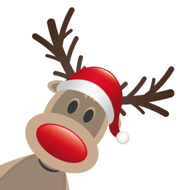 rudolph reindeer red nose santa claus hat Fotolia_44930331_V-© d3images.zip FOTO: d3images - Fotolia; Credits div. für Werbe. 2012 gesp. MOTIV: Weihanchten; Dekoration; grafische Illustration. Rentier mit Mütze vom Weihnachtsmann. AUch als Vektor-Datei