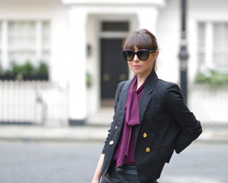 Purple-Feminine-Pussy-Bow-Blouse-and-Blazer-Streetstyle