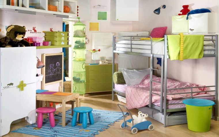 delightful-little-boys-room-decoration-for-small-space-with-grey-polished-metal-bunk-bed-equipped-space-saving-stairs-and-green-painted-wooden-chest-of-drawers-as-well-as-brown-unfinished-oak-wood-kid
