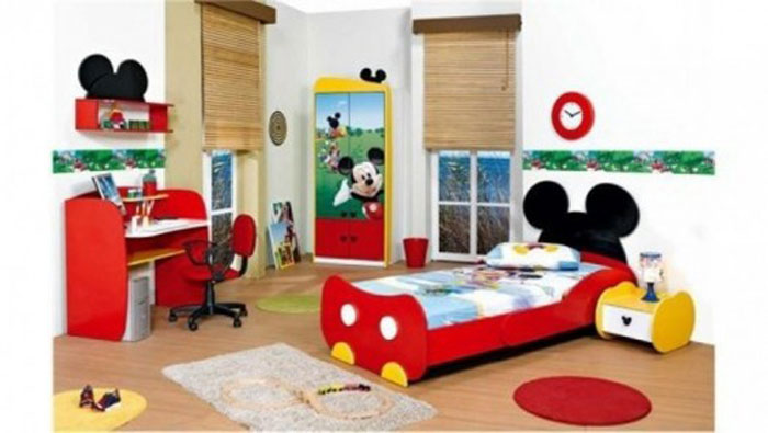decorating-bed-nursery-bedding-ideas-cool-white-mickey-mouse-kids-room-with-wooden-floor-and-mickey-mouse-furniture-set