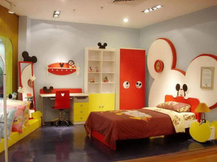 decorating-bed-nursery-bedding-ideas-dazzling-white-mickey-mouse-kids-bedroom-with-mickey-mouse-wall-decoration-and-small-bed