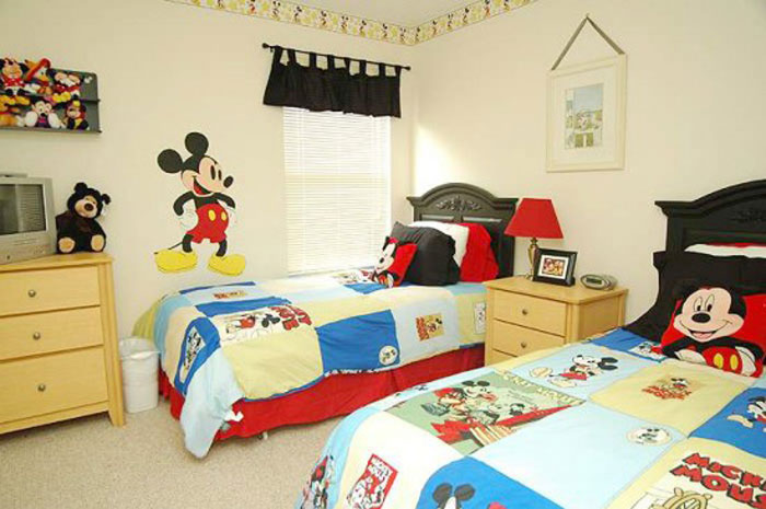 decorating-bed-nursery-bedding-ideas-white-mickey-mouse-twin-kids-bedroom-with-mickey-mouse-wall-decoration-and-bedding